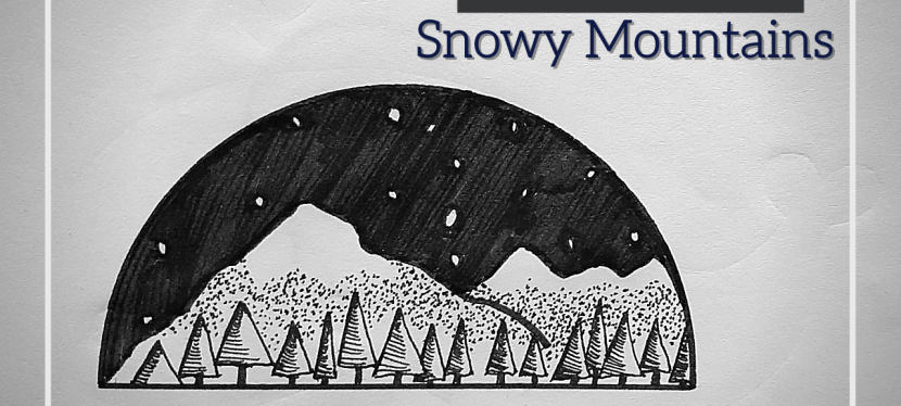 Ink Drawings: Snowy Mountains