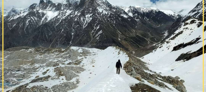 Walking on the Edge of Meru Glacier